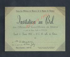 MILITARIA FAIRE PART CARTE D INVITATION MILITAIRE AU BAL DES OFFICIERS & SOUS OFFICIERS DE RESERVE A SEZANNE 1954 : - Faire-part