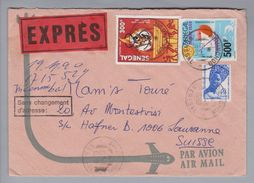 "Senegal 1990-02-15 Expressbrief Nach Lausanne Vermerk ""sans Changement D'adresse"" - Sénégal (1960-...)"