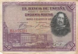SPAGNA 1928 50 PESETAS VF (22A - [ 1] …-1931 : Prime Banconote (Banco De España)