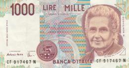 ITALIA LIRE 1000 MONTESORI-VF (30A - [ 2] 1946-… : Républic