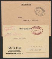 """""""Gebühr Bezahlt"""", Drucksachenkarte Und Drucksachenbrief Mit Versch. Farbigen Oval- Stempel """"Bamberg"""" Und """"Freiburg"""", 194 - Bizone"""