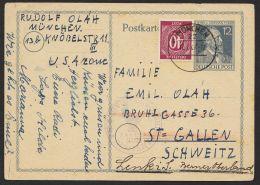 Bedarfskarte In Die Schweiz Mit Zusatzfr. 929 Noch Nachgesandt, US-Zensur, Mi-Nr. P965 - Gemeinschaftsausgaben