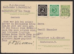"Bedarf Mit Zusatzfr. ""Karlsruhe"", 6.8.46, Mi-Nr. P900 B, O - Bizone"
