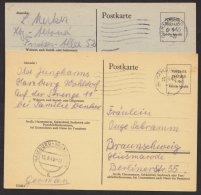 """2 Bedarfskarten """"Hamburg"""", Versch. Kartenfarbe, Mi-Nr.P695 E,g, O - Bizone"""