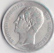 """BELGIQUE - 5 FRANCS ARGENT 1851 - LEOPOLD PREMIER """" TETE NUE """" -TTB+ - 11. 5 Frank"""