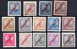 PORTUGAL-AÇORES  1911  D. MANUEL II SOBRECARGA REPUBLICA  NUEVA CON CHARNELA    Ceci 2 Nº 152 - 1910-... República
