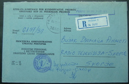 1991 REGISTERED JUDICAL COVER FROM PRIZREN (KOSOVO) To SKOPJE (MACEDONIA), ADRESSE INSUFISSENT. ADDITIONAL SEAL - Macedonië