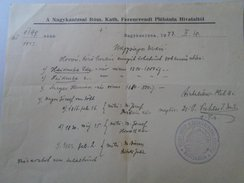 J2049.34 Hungary  Nagykanizsa Ferencrendi Plébánia 1943 -genealogy Document - Vieux Papiers