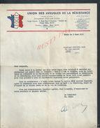 MILITARIA PARIS RUE PAUL CEZANNE  Lt 1952 UNION DES AVEUGLES DE LA RESISTANCE INVITATION AUX CEREMONIES L ARC TRIOMPHE : - Documenten