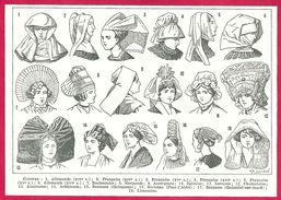 Coiffes Illustration Auguste Goichon Larousse 1948 - Vieux Papiers