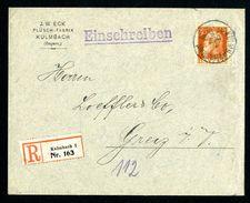 DR Einschreiben Bayern 1912 Kulmbach Nach Greiz L1019 - Briefe U. Dokumente