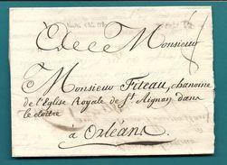 Loire Inférieure - Nantes Pour Le Chanoine De L'Eglise Royale De St Aignan Dans Le Cloitre à Orléans. LAC De 1780 - Marcophilie (Lettres)
