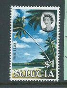 St Lucia 1964 QEII Definitive $1 Beach Scene MNH - Ste Lucie (...-1978)