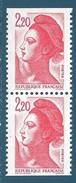 N°2427a Paire Verticale Liberté 2,20 Neuf** (issu De Carnet) - Unused Stamps