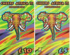 2-CARTES+-PREPAYEE-5£/10£-CHEERS AFRICA- ELEPHANT-GRATTE-TBE - - Autres Prépayées