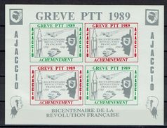 RARE BLOC DE 4 TIMBRES DE GRÈVE 1989 1 AJACCIO CORSE TGV CONCORDE ESPACE RÉVOLUTION - Strike Stamps