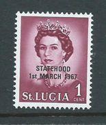 Saint Lucia 1967 Statehood Overprint On QE II Unlisted 1c Black Overprint  MNH - St.Lucia (1979-...)