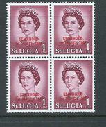 Saint Lucia 1967 Statehood Overprint On QE II Unlisted 1c Red Overprint  MNH Block Of 4 - St.Lucia (1979-...)