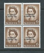 Saint Lucia 1967 Statehood Overprint On QE II Unlisted 6c Black Overprint  MNH Block Of 4 - St.Lucia (1979-...)