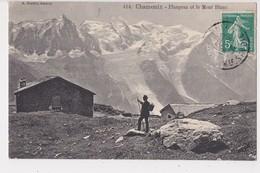 74 Chamonix Planpraz Et Le Mont Blanc Cpa Animée - Chamonix-Mont-Blanc
