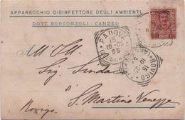 Apparecchio Disinfettore Per Ambienti Dott. Bergonzoli Candeo Padova. Viaggiata 1905 Con Annulli Tondoriquadrati Rovigo - Padova (Padua)