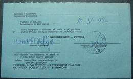 "1992 ''PEC"" (KOSOVO - SERBIA) POSTMARK PEC, REVERSE OF JUDICAL COVER, BILINGUAL - Kosovo"