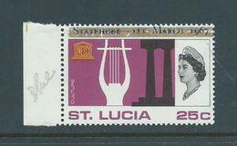 Saint Lucia 1967 Unauthorised  Statehood Overprint In Blue On 25c UNESCO MNH - St.Lucia (1979-...)