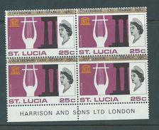 Saint Lucia 1967 Unauthorised  Statehood Overprint In Blue On 25c UNESCO MNH Harrison Imprint Block Of 4 - St.Lucia (1979-...)