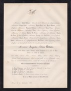 MONS Ancien Bourgmestre Et Sénateur Augustin-Désiré DETHUIN 68 Ans 1868 Notaire Familles LYON TROYE DU VIVIER - Décès