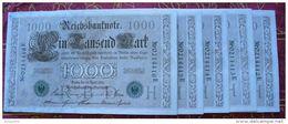Suite De 5 Billets De 1000 Reichbanknote Numéros à La Suite Neufs !!! 1910 - [ 2] 1871-1918 : German Empire
