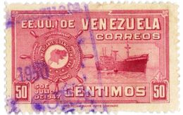 VENEZUELA, COMMEMORATIVI, NAVI, 1949, FRANCOBOLLI USATI,   Scott 422 - Venezuela