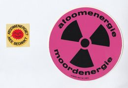 1980s? Netherlands 2 Different ANTI NUCLEAR ENERGY CAMPAIGN LABELS Unused On Original Backing Paper Label Atomic - Old Paper