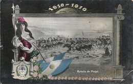 82526 ARGENTINA PATRIOTIC CENTENARIO FLAG HERALDRY BATALLA DE MAIPU POSTAL POSTCARD - Argentinien