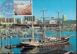 "FRANCE 1991 Carte Postale ""TOULON - Port De Paisance"" 1 Stamp CROIX ROUGE, RED CROSS PC UNUSED - Red Cross"