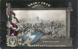 82539 ARGENTINA ART PATRIOTIC CENTENARIO BATALLA DE SAN LORENZO HERALDRY & FLAG BREAK POSTAL POSTCARD - Argentinien