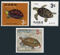 RyuKyu 136-138,lightly Hinged.Michel 165-167. Turtles 1965.Chinese Box,Hawksbill,Terrapin. - Turtles