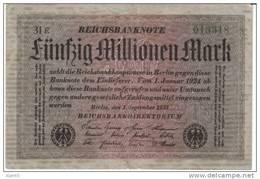 #109a Germany 50 Million Marks 1.9.1923 Banknote Currency - [ 3] 1918-1933: Weimarrepubliek