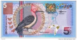 Suriname #146 5 Gulden 2000 Banknote Money Currency, Bird Flowers - Surinam