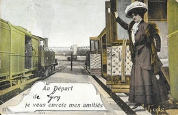 Au Départ De (Lyon) Je Vous Envoie Mes Amitiés - Train En Gare - Edition L.V. & Cie - Carte Aqua-Photo Colorisée - Greetings From...