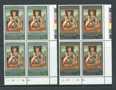Saint Lucia 1967 Christmas Raphael Madonna Painting Set 2 MNH Plate Number Blocks Of 4 - St.Lucia (1979-...)