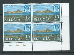 Saint Lucia 1968 15c Pigeon Island Definitive Sideways Watermark MNH Plate Number Block Of 4 - St.Lucia (1979-...)