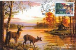 India  2017  Deer  Horned Deer  Nature : India  Maximum Card  #   04701   D  Inde Indien - Game