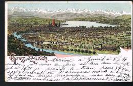Gruus Aus ZURICH - Litho - Voyagée 1899 - Scans Recto Verso-  Paypal Free - ZH Zurich