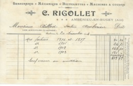 FACTURE C RIGOLLET ;AMBERIEU EN BUGEY 01 Serrurerie ,bicyclettes,machine A Coudre 135mmx210mm/n9 - France