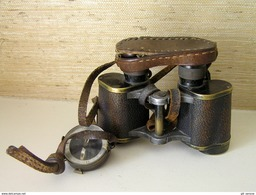 WWII German Binoculars Carl Zeiss Jena Nedinsco Venlo Silvamar 6x30 W/case - Optics