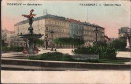 ! Alte Ansichtskarte Pozsony , Pressburg , Theaterplatz, 1909 - Slowakei