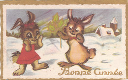 Carte Postale Ancienne - Mignonette - Lapins - Bonne Année - Fantaisies