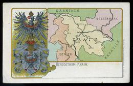 AUSTRIA   SLOVENIA Krain Litho, Map, Vintage Picture Postcard 1899 - Slovenia