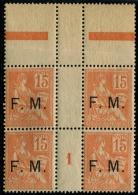 Lot N°3851 France  Franchise Militaire N°1 Bloc De 4 Neuf  ** LUXE - Franchise Militaire (timbres)