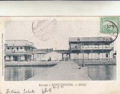 Suez, Entrata A Port Tewfik. Cartolina Viaggiata Per Perugia  Con Nave Italiana  Avviso Galileo 1903 - Egitto